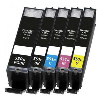Canon CLI-551XL C/M/Y/Bk - kompatibilní - Černá + sada barev(031-04146)
