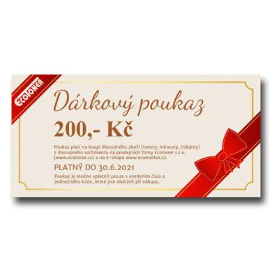Dárkový poukaz v hodnotě 200,- Kč k uplatňení na prodejnách Ecotoner.(992-00030)